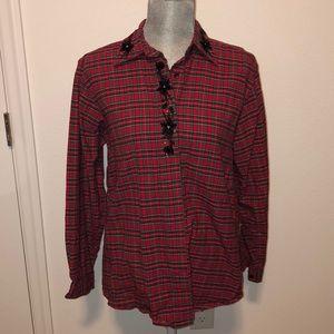 Cabin Creek Christmas plaid button down shirt